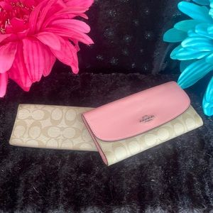 Coach leather trifold wallet & checkbook set
